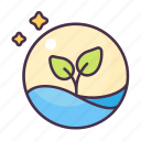 ecology, environment, glass, growth, plant, tree, water icon
