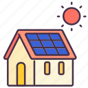 building, energy, house, panel, power, solar, sun icon