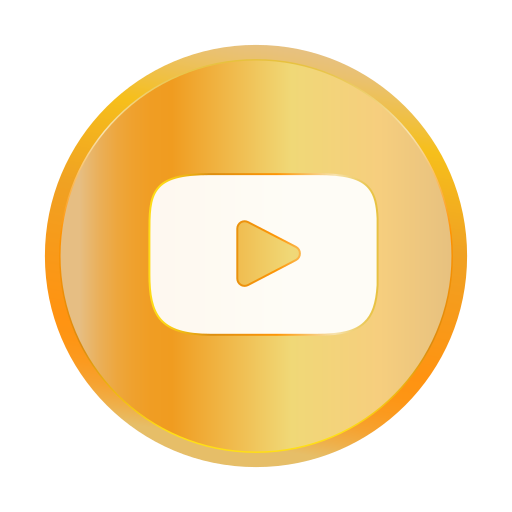 entertainment, golden, media, social, youtube icon