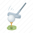 ball, club, equipment, golf, stand icon