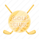 club, emblem, golden, golf, insignia icon