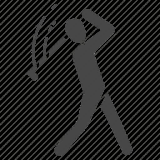 golf, golfer, hitting, sports, stroke, stroke play, swing icon