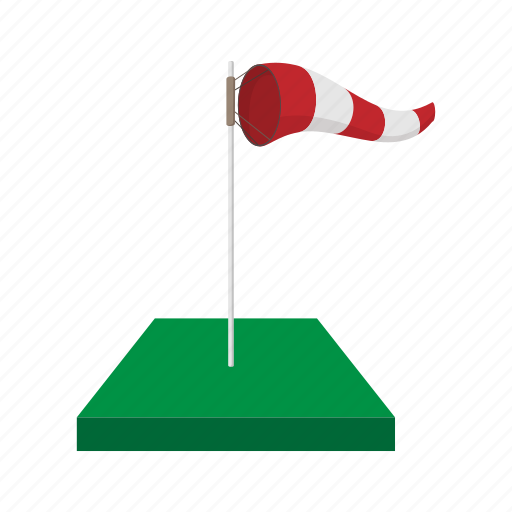 cartoon, direction, flag, green, storm, weather, wind icon