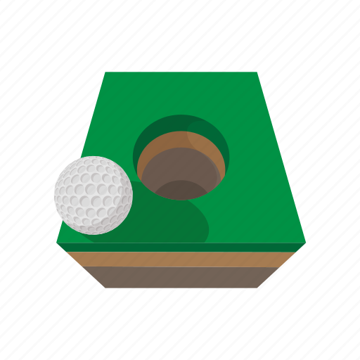 ball, cartoon, course, golf, grass, hole, sport icon