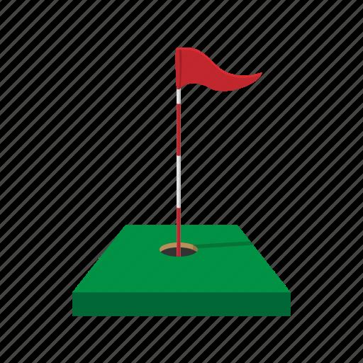 cartoon, flag, game, golf, green, leisure, sport icon