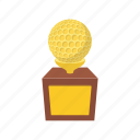 award, ball, cartoon, cup, gold, golf, sport icon