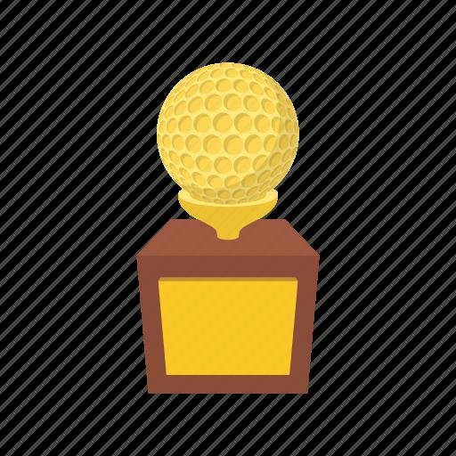 award, ball, cartoon, cup, gold, golf, sport icon