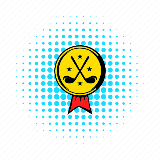 award, ball, club, comics, gold, golf, ribbon icon