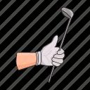 equipment, glove, golf, hand, inventory, sport, stick icon