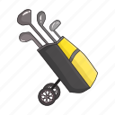 bag, cart, equipment, golf, sports, stick, tool icon