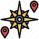 cardinal, compass, nautical, points, rose, star, wind icon