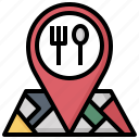 cutlery, food, fork, knife, location, pin, restaurant icon