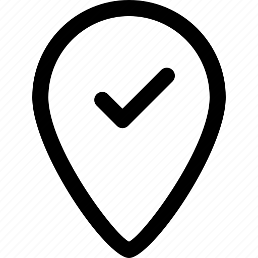 gps, location, map, verified icon