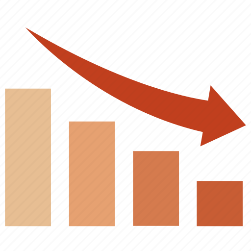 chart, decrease, down, fall, falling, graph, table icon