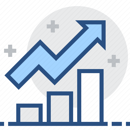 arrow, bar, chart, diagram, graph, growth, statistics icon