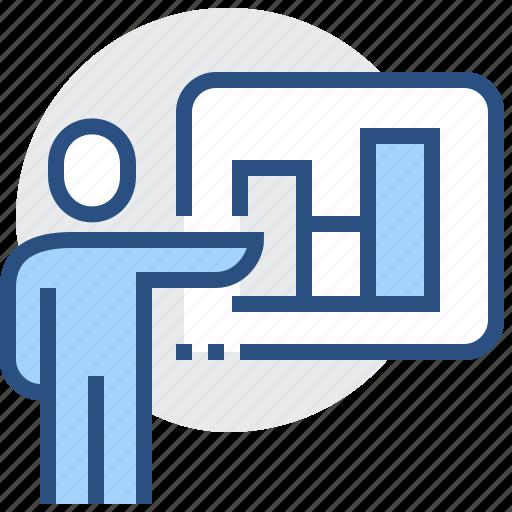 bar, chart, diagram, graph, man, presentation, report icon