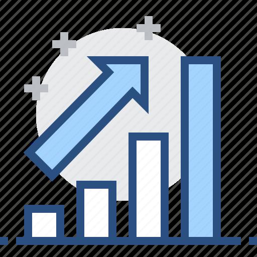 arrow, bar, chart, diagram, graph, statistics, trend icon