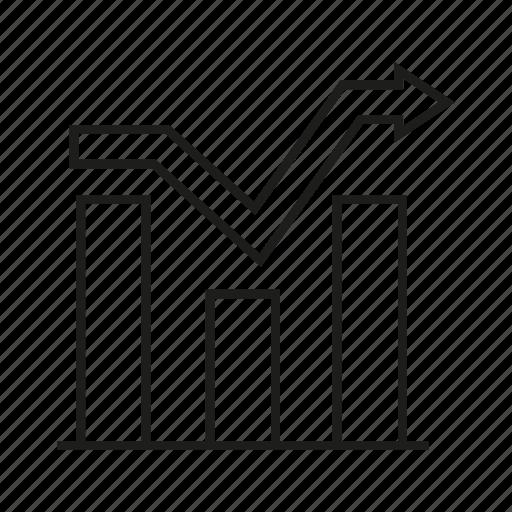 analytics, arrow, bar chart, chart, data, graph, stats icon