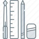 design, equipment, office, pen, pencil, ruler, tool icon