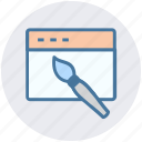 brush, internet, layout, paint brush, seo, web design, webpage icon
