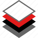 illustrator, layers, many, multiple icon