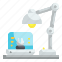 lamp, desk, tools, light, workspace