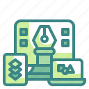 responsive, design, illustration, device, interface
