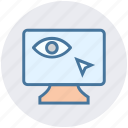 click, cursor, eye, lcd, screen, see, view icon