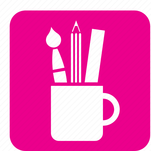 brush, design, graphic, mug, paint, supply, tools icon