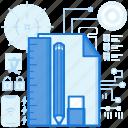 document, eraser, file, page, paper, pencil, ruler