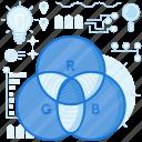 color, colour, design, graphic, lightbulb, rgb, web icon