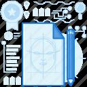 document, face, file, page, paper, pencil, sketch