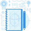 character, face, notebook, pencil, sketch, sketches icon