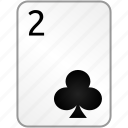 clubs, card, two, casino, poker
