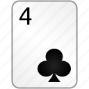 clubs, card, four, casino, poker
