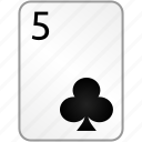 card, casino, clubs, five, poker icon