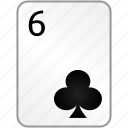 card, casino, clubs, poker, six icon