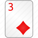 card, casino, diamonds, poker, three icon
