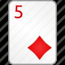 diamonds, card, five, casino, poker
