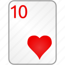 hearts, card, ten, casino, poker
