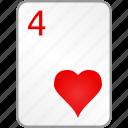 card, casino, four, hearts, poker icon