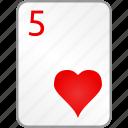 hearts, card, five, casino, poker
