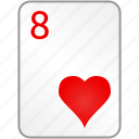 card, casino, eight, hearts, poker icon