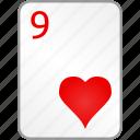 hearts, nine, card, poker, casino