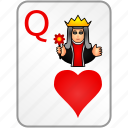 card, casino, hearts, poker, queen icon