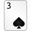 card, casino, poker, spades, three icon