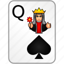 card, casino, poker, queen, spades icon