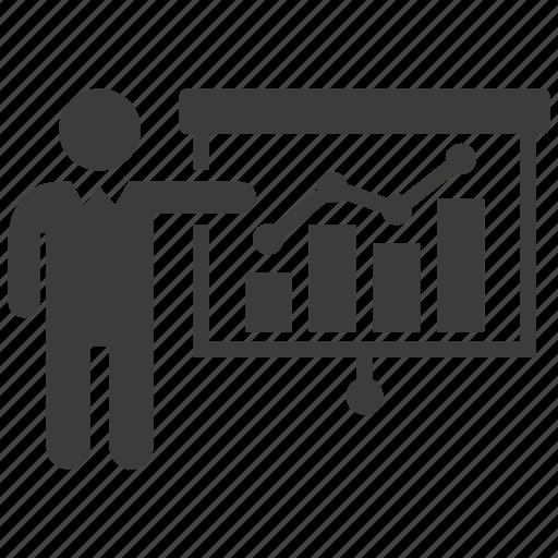 demo, demonstration, graph, presentation icon