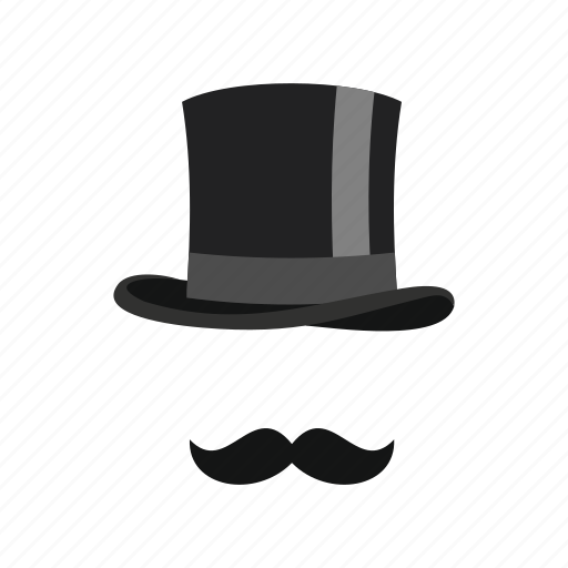 classic, clothes, cylinder, fashion, gentleman, headdress, moustaches icon