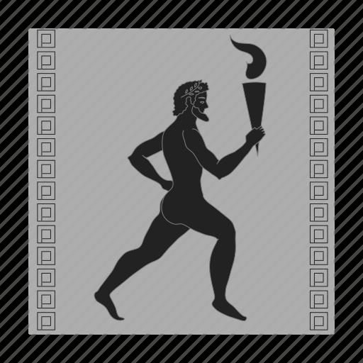 fire, greek, men, mythology, olympian, painting, torch icon